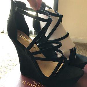 Liliana black suede wedge (New)